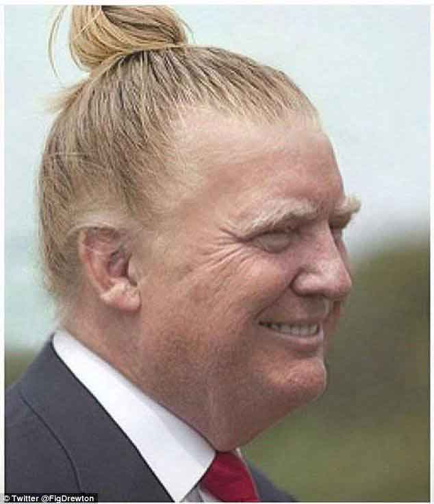 funny image of donald trump with bun hair